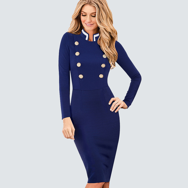 073d85d90de Casual Work Business Office Ladies Dresses Women Vintage Long Sleeve  Double-Breasted Buttons Bodycon Autumn