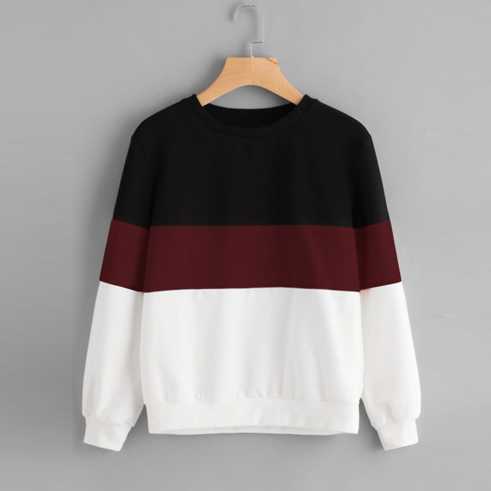 Harajuku Sweatshirt Pullover Long-Sleeve Stripe Woman Women's Fashion-Brand Sew Cut -30 thumbnail