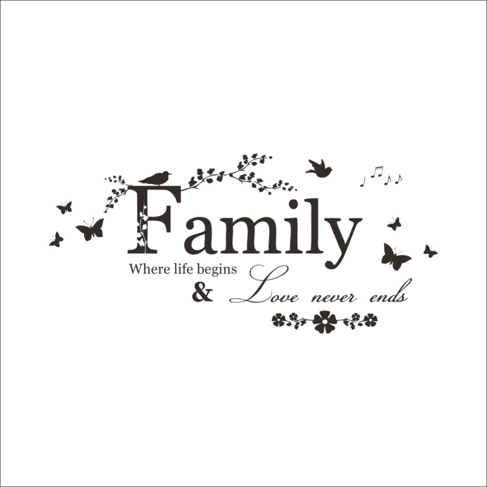 Family Love Never Ends Quote Vinyl Wall Decal Wall Lettering Art Words Wall Sticker Home Decor Wedding Decoration Removable Wallpaper Decals Retro Wall