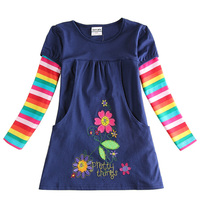 2017 Newest Design Girls Flower Frocks Children Clothes Hot Dresses Baby Dresses Long Sleeve Baby Clothes