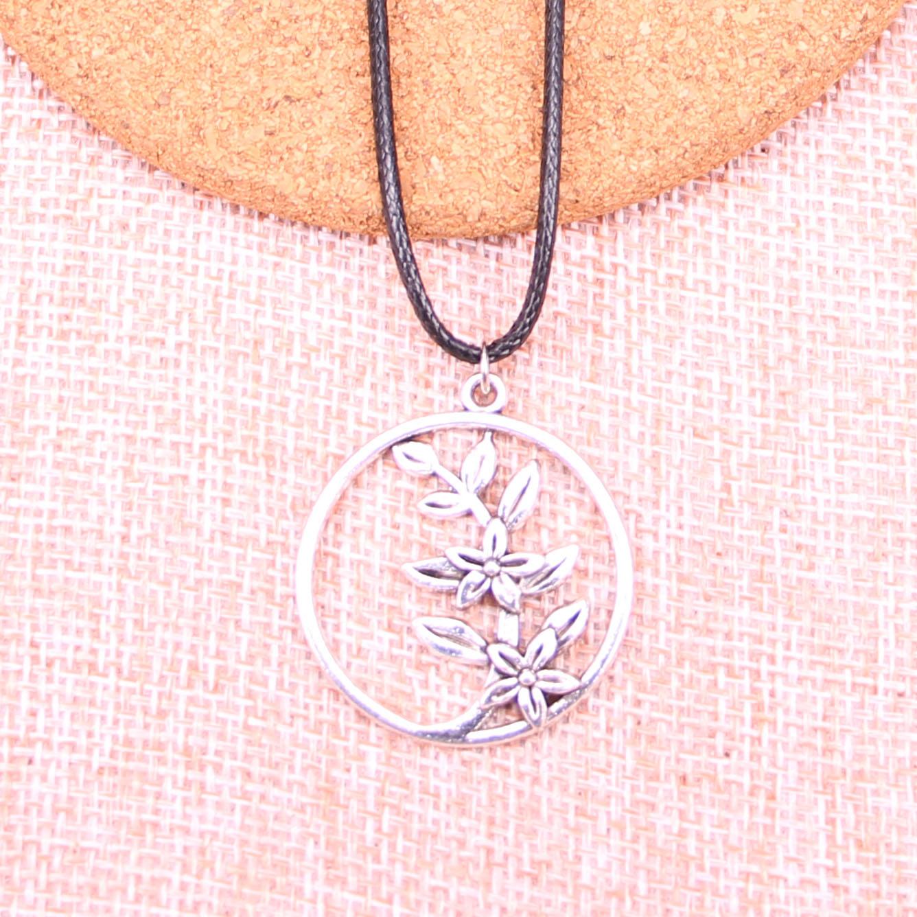 20Pcs Antique Silver Color circle flower branch Pendant 29mm Leather Chain Necklace Black Leather Cord Necklace