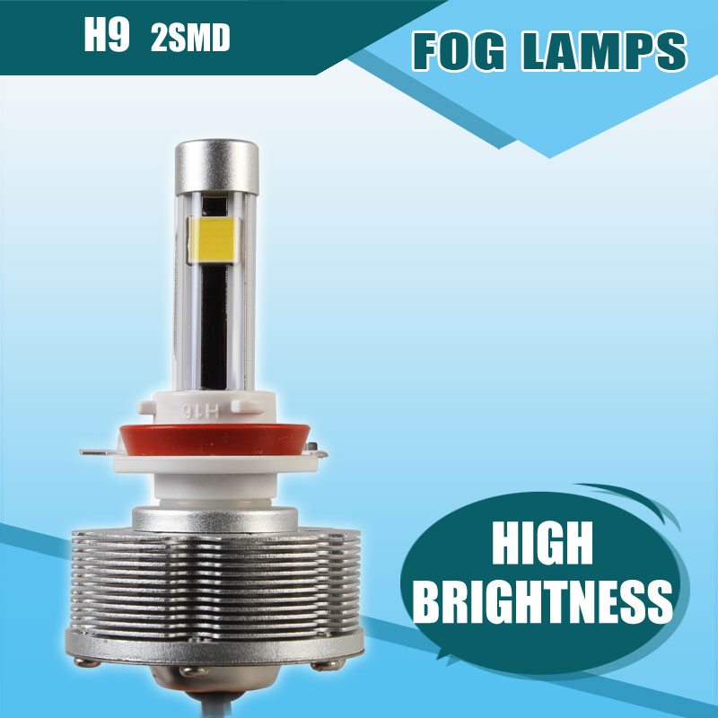 Pairs H9 LED Automobiles Motorcycles Fog Lamps Cars Bulbs 2SMD Ultra High Bright 6000K White Car Styling