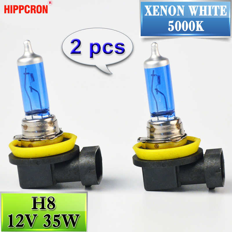 hippcron 2 PCS 12V 35W H8 Super White Halogen Bulb 5000K Quartz Glass Dark Blue Car HeadLight