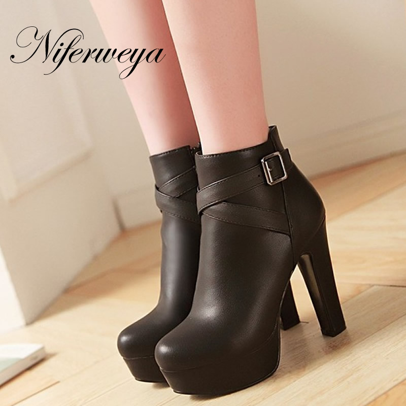 Big size 31-45 Winter women shoes fashion Round Toe platform high heels Buckle decoration zipper black Ankle boots zapatos mujer big size 33 45 short boots fashion winter red women wedding shoes sexy round toe platform high heels ankle boots zapatos mujer