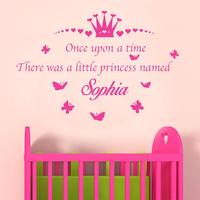 Princess Room Decor Sticker Personaizlied Name Crown Quotes Vinyl Decals Art Wall Stickers for Girls Nursery Room KW-157