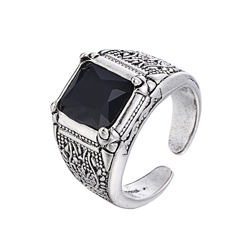 100% 925 Sterling Silver Retro Style Black Crystal Men