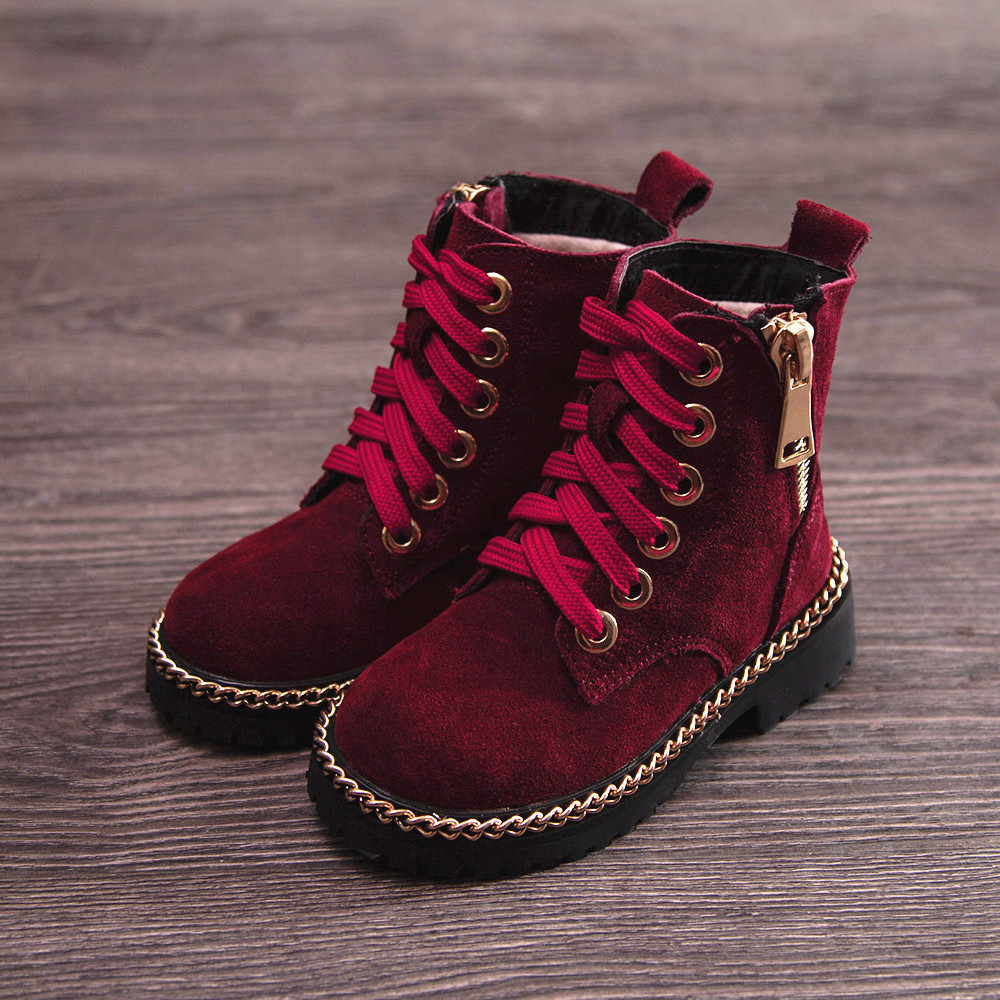 2017 Kids Shoes Boots Girls Boys Winter Snow Botas Flock Leather Children Sneakers Martin Boots Plush Casual bota menina babyfeet 2017 winter fashion warm plush high top genuine cow leather children ankle girls snow boots kids boys shoes sneakers