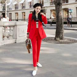 Комплект из 2 предметов, Осень-зима 2018, офисная одежда, деловой костюм, тонкий красный двубортный Блейзер и брюки, женская одежда из двух