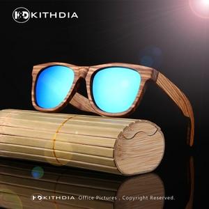 Image 3 - KITHDIA New 100% Real Zebra Wood Sunglasses Polarized Handmade Bamboo Mens Sunglass Sun glasses Men Gafas Oculos De Sol Madera
