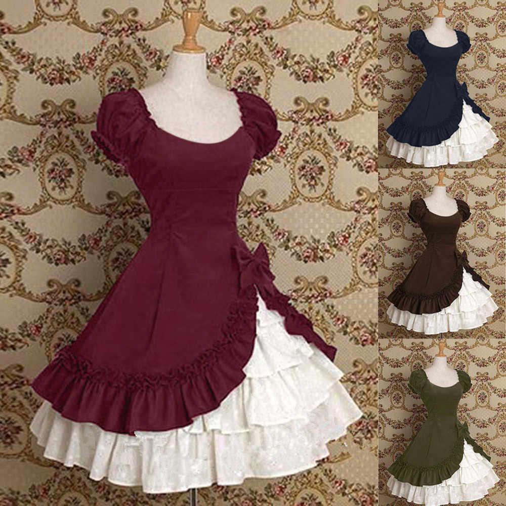 e0e0487ccaf Женское рождественское платье с рюшами Многоуровневое средневековое  винтажное платье с оборкой вечерние бальные платья торжественное платье