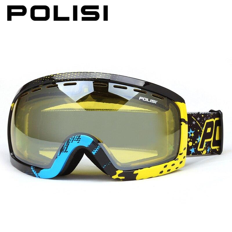 Invierno de esquí gafas de nieve doble capa polisi lente amarilla gafas de esquí