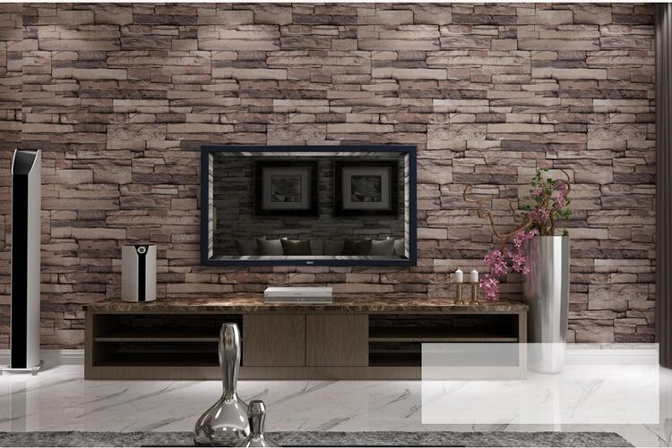 2 pcs 3D Wood Blocks Effect Brown Stone Brick 10M Vinyl Wallpaper Roll Living Room Background Wall Decor Art Wall Paper