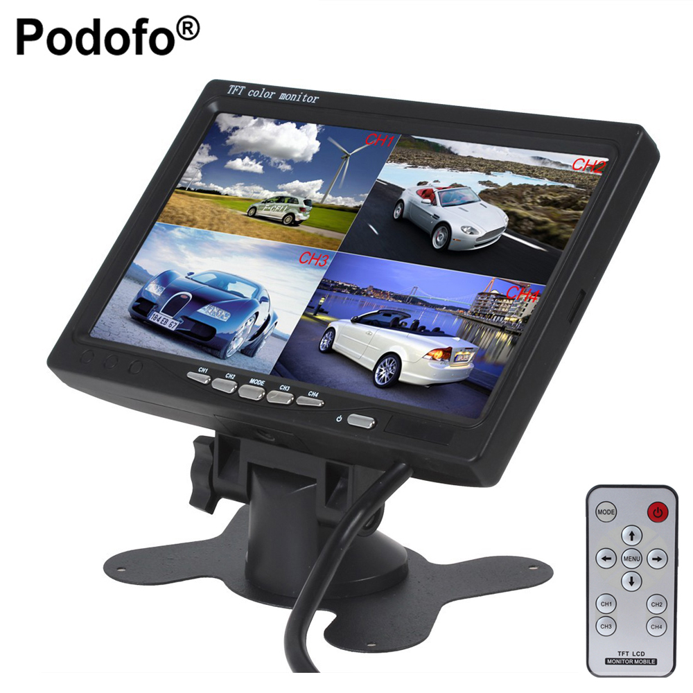 Podofo 7 LCD Car Parking Monitor With 4CH Video input Monitors Quad Split Screen 6 Mode Display For Truck Caravan Car-styling