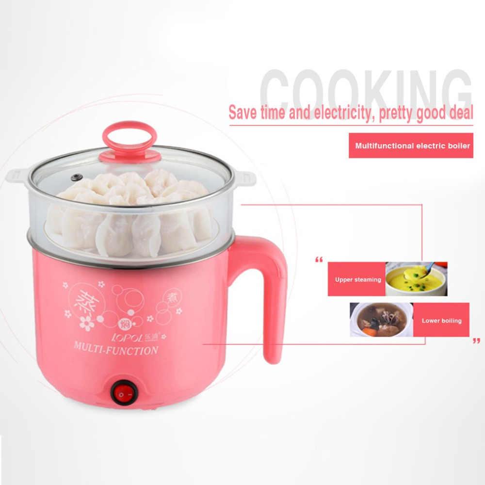 1.8L nowy kuchenka elektryczna z parowiec wielofunkcyjny gorący garnek ze stali nierdzewnej makaron garnki do gotowania ryżu na parze jaja Pan garnki zupy