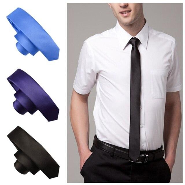 1 pc Elegance Classic Skinny Slim Tie Solid Color Plain Silk Jacquard Woven Necktie men clothing accessories 12color