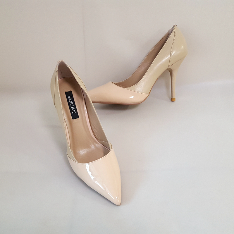 c942e0f082 Aliexpress.com : Buy SANLUME 7CM 10CM Women Sexy Pointed Toe Leather  classic High heels Nude Wedding shoes Lady Party pumps Size 40 from  Reliable ...