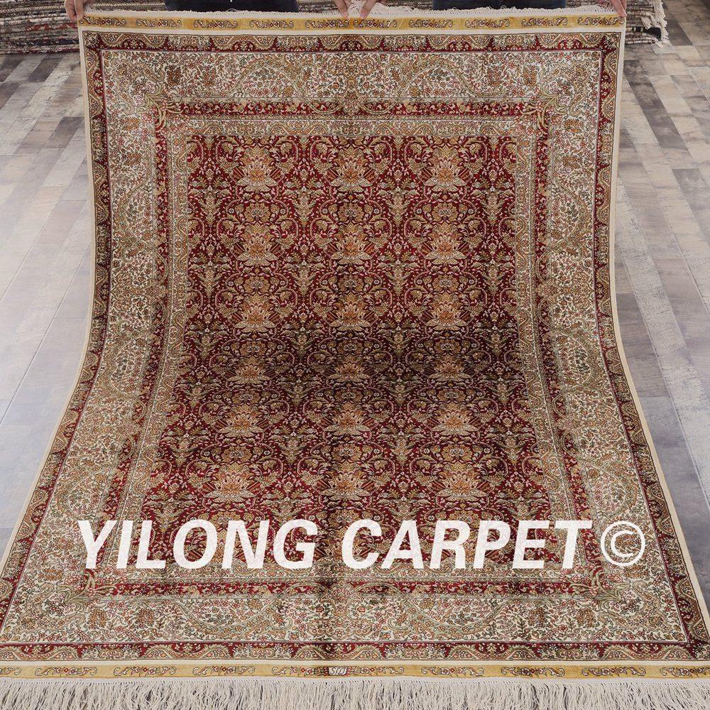 Yilong 5'x7 'tapis en soie persain à la main de conception simple de couleur rouge à vendre (LH798A5x7)