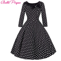 Women Spring 3 4 Sleeve Skater Vintage Dresses Polka Dot Tunic Ladies Party Wear Autumn Casual