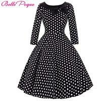 Belle Poque Kadınlar Patenci Elbise Vintage Yaz Elbiseler 2017 3/4 kollu Polka Dot Tunik Parti Gündelik Giyim Elbise 50 s Kadın giyim