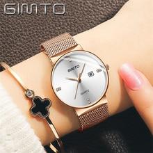 GIMTO Gold Mesh Stainless Steel Watches Women Top Brand Luxury Casual Clock Ladies Wrist Watch Date Relogio Feminino
