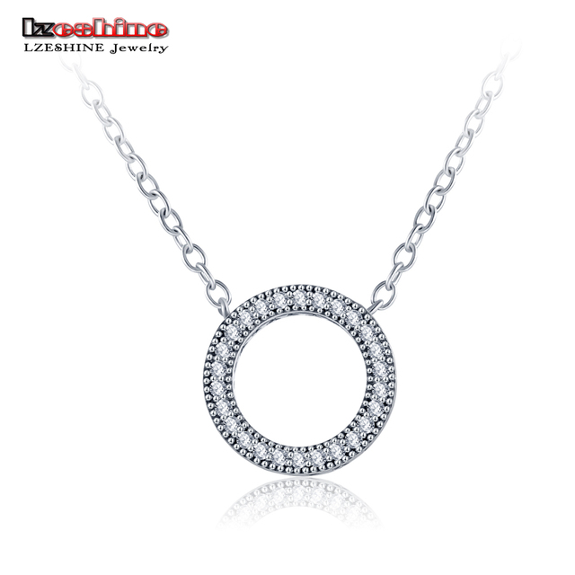 LZESHINE Real  925 Sterling Silver Pendant Necklace Long Chain Necklace Jewelry Wedding Necklace Accessories Wholesale PSNL0007