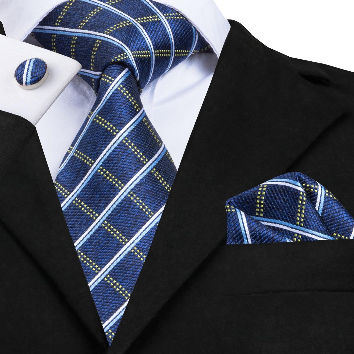 SN-1673 Hi-Tie Designer Classic Blue Plaid Ties For Men High Quality Silk Necktie Handkerchief Cufflinks 8.5cm Business Suit Tie