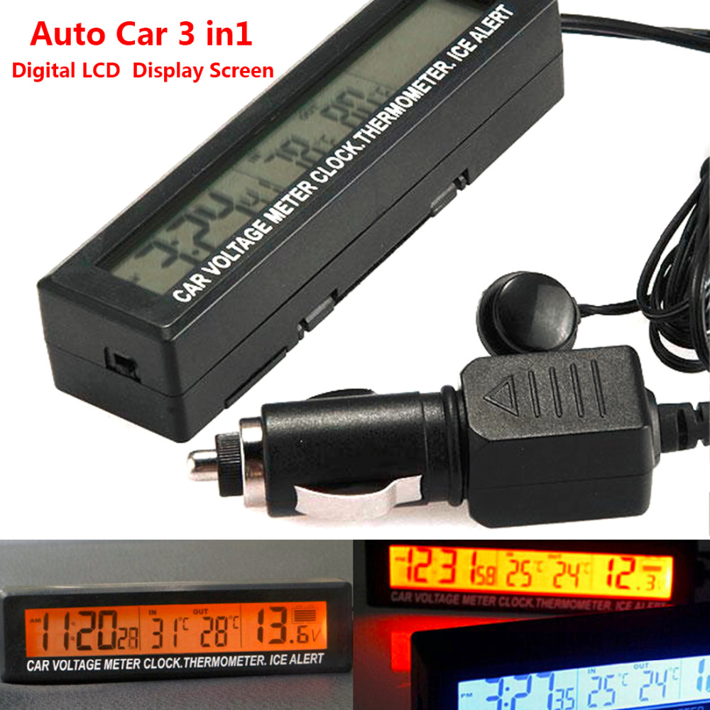 Car Voltage Meter 12/24V Auto 3 in1 Digital LCD Clock In/Out Temperature Display Thermometer Car-styling Battery Voltage Monitor