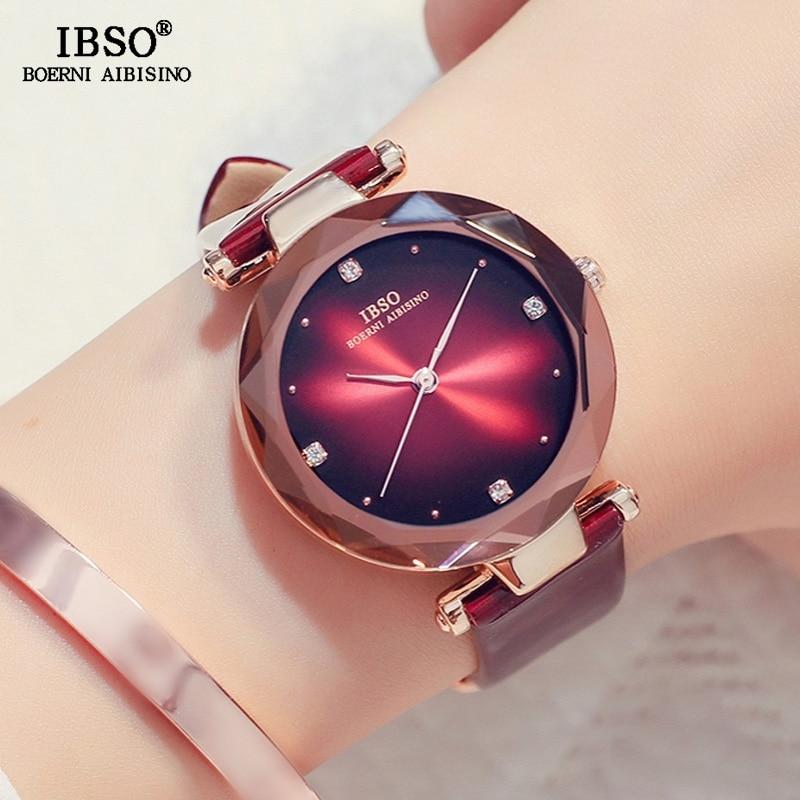 IBSO 2019 Top Brand Luxury Quartz Watch Ladies Crystal Dial Clock Women Fashion Leather Watches Relogio Feminino #S8292L
