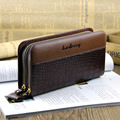 New bags!!!Crocodile pattern mens wallets double zipper design long wallet mobile phone male bag cowhide clutch man bag