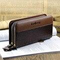 Nuevos bolsos! patrón del cocodrilo para hombre carteras diseño de doble cremallera larga cartera teléfono móvil para hombre bolsa embrague del zurriago del hombre