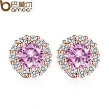 BAMOER 2016 New  Gold Plated Pink Crystals Surround Girl Stud Earrings with AAA Zircon Earrings Jewelry Party Gift JIE054-PK