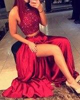 Блестящие Длинные Кристаллы бисера темно красное платье для выпускного вечера 2018 сексуальные две штуки с высоким вырезом А силуэта атласно
