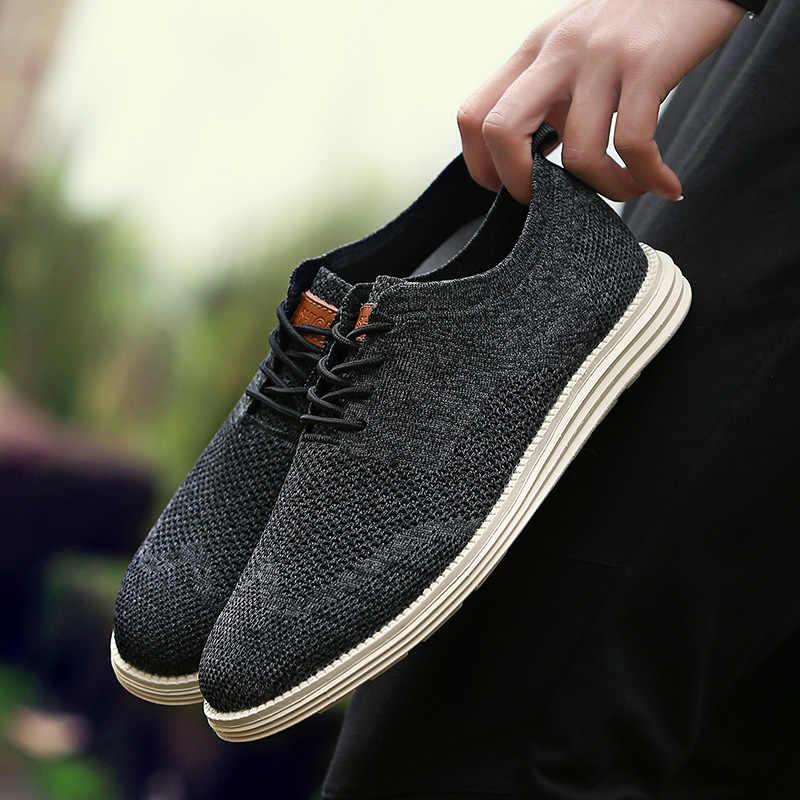 2019 lato nowy Vintage mężczyźni obuwie męskie biznes formalne akcentem splot rzeźbione oksfordzie suknia ślubna buty oddychające