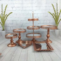 6pcs/ set mirror wedding cake accessory stand set cupcake stand decorating cooking cake tools bakeware set