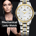 Genuino Suizo BINKADA Mujeres zafiro Reloj mecánico automático auto-viento reloj de señoras de moda de negocios Reloj impermeable femenina