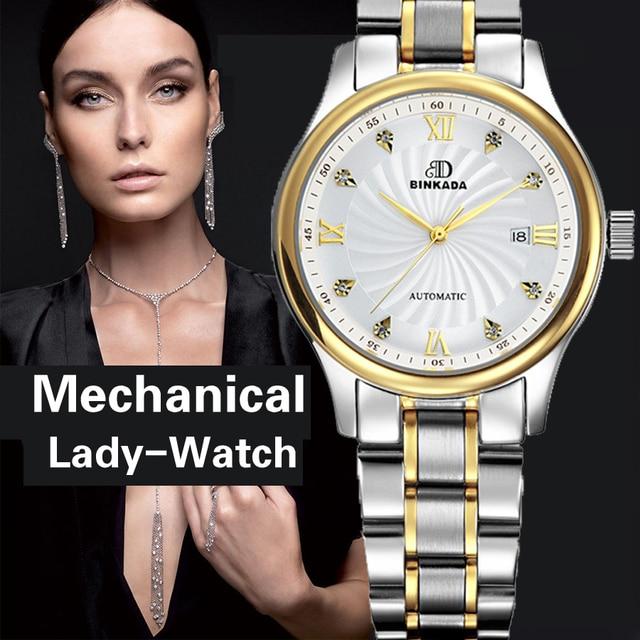 Натуральная binkada Для женщин Автоматический Механические часы self-ветер сапфир часы женские модные деловые женские водонепроницаемые часы