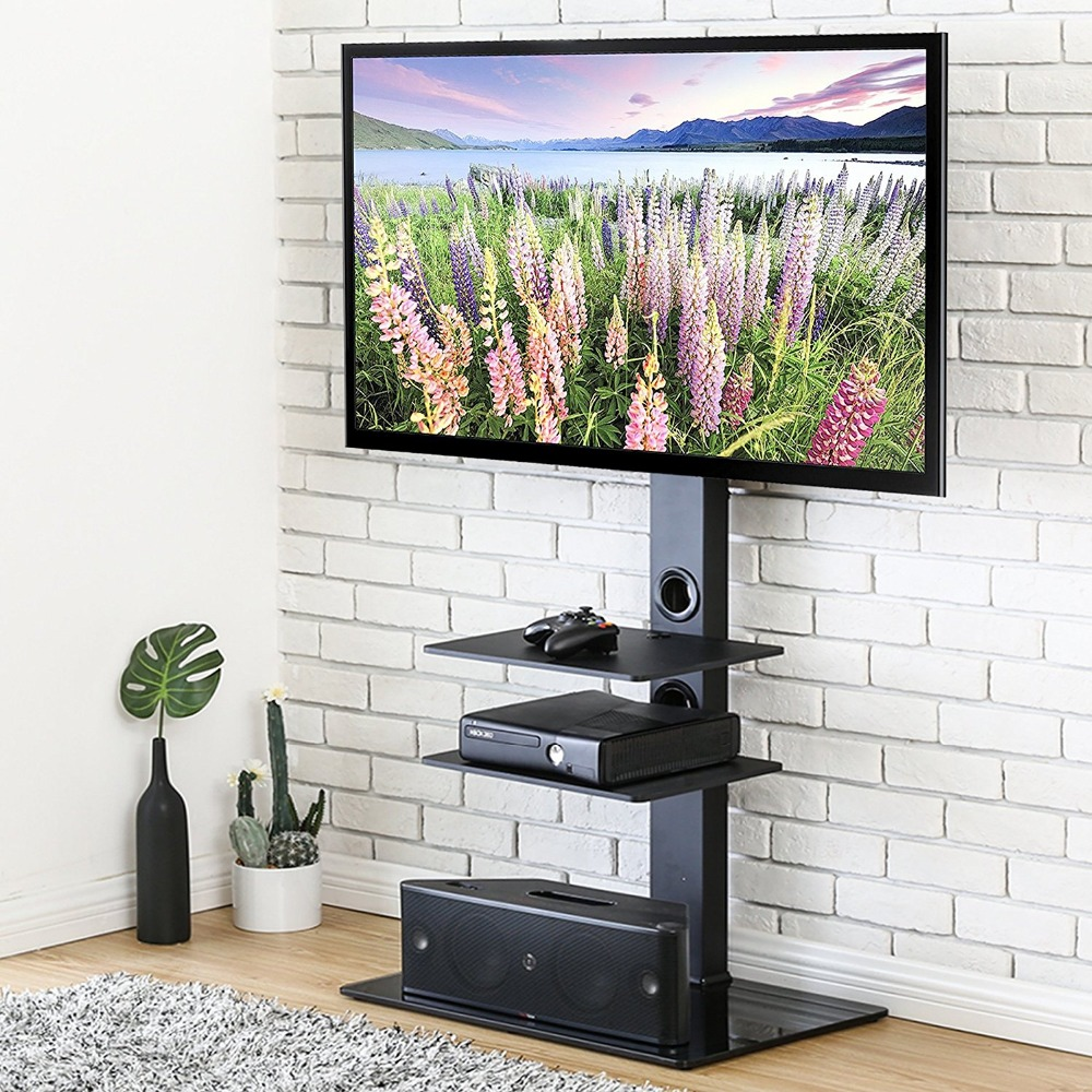 FITUEYES Swivel TV Stand with Mount for 32-65 Inch Flat Screen TV Entertainment Center Height Adjustable fitueyes universal swivel tv stand base with mount height adjustable for 26 to 55 tv tt106001mb