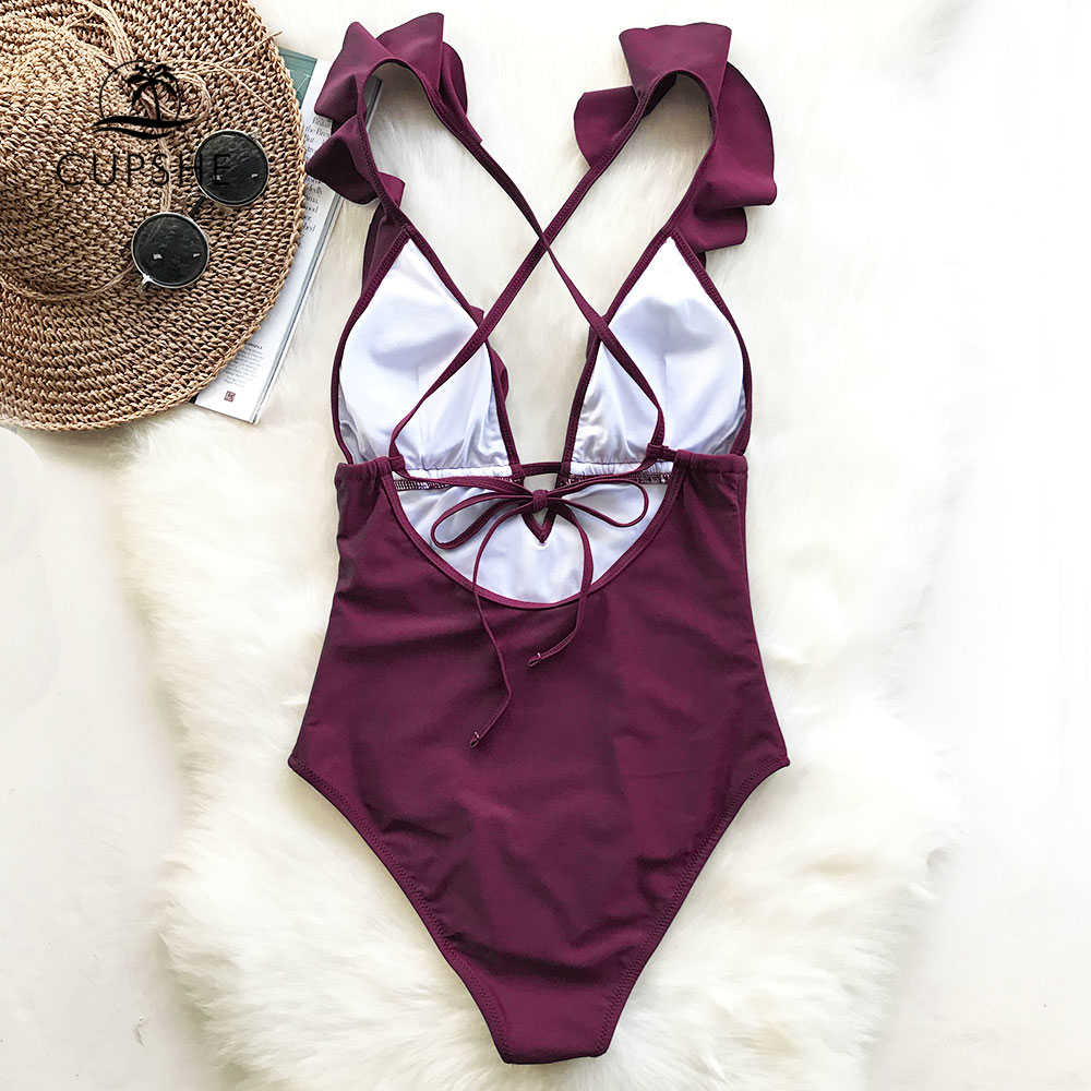 Borgonha CUPSHE Ataque Cardíaco Falbala One-piece Swimsuit Mulheres Ruffle V-neck Monokini 2019 Nova Meninas Da Praia Maiô Swimwear
