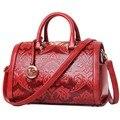 Женщины сумочка известный бренд Национальный стиль женщины кожаные сумки леди сумки посыльного бочкообразная сумка высокое качество MU-2043