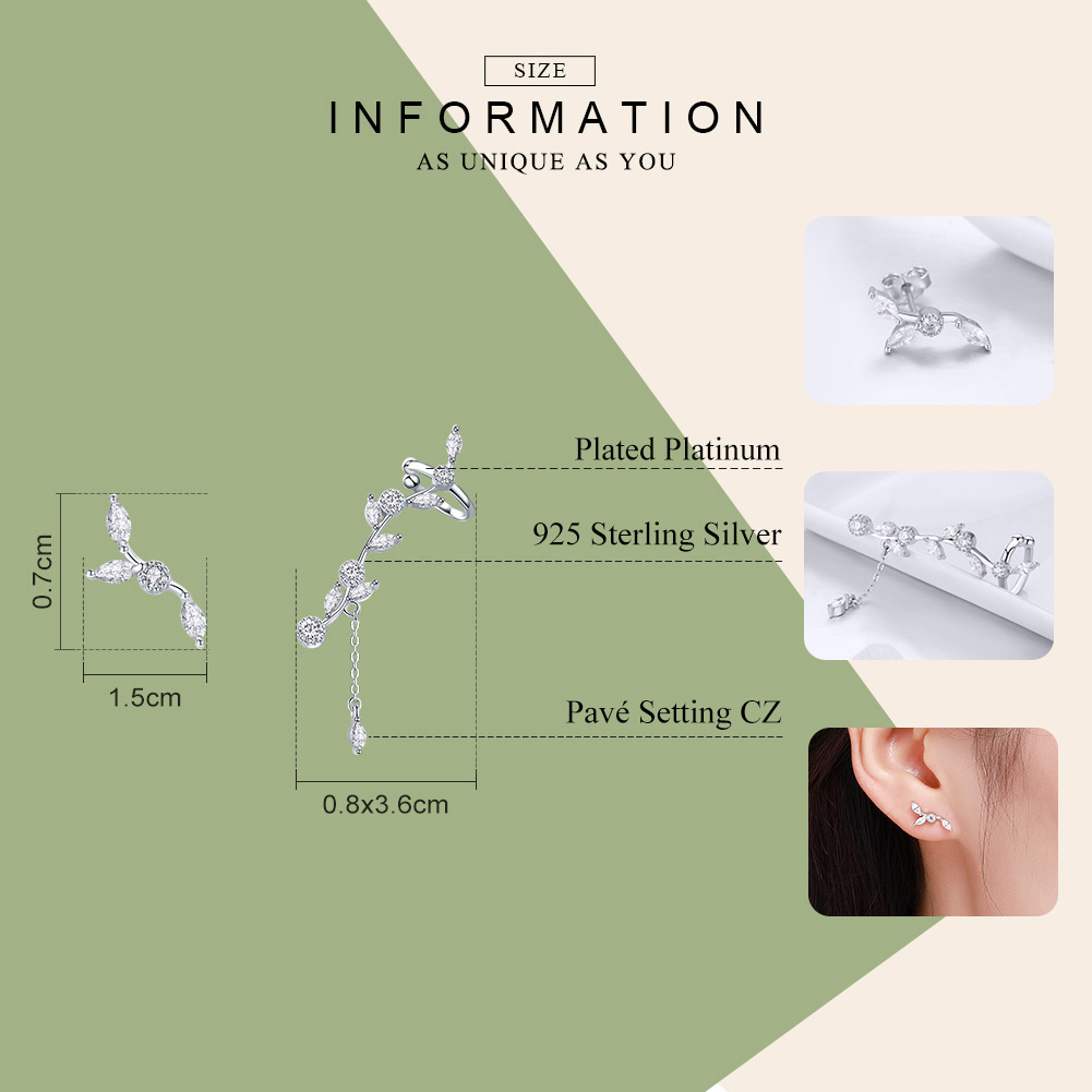 WOSTU Hot Sale 925 Sterling Silver Dazzling Leaves Stud Earrings For Women Female Original Design Silver Jewelry Gift CQE429 3
