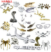 HARBLL Pure metal gecko, bats, snakes, sharks, wings, feet 3D car stickers decoration, car styling Decoration