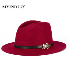 2017 Fashion Wool Fedora Hats For Women Men Wide Brim Vintage Jazz Caps Casual Soft Cashmere Fedora Cap With Belt Female Gifts