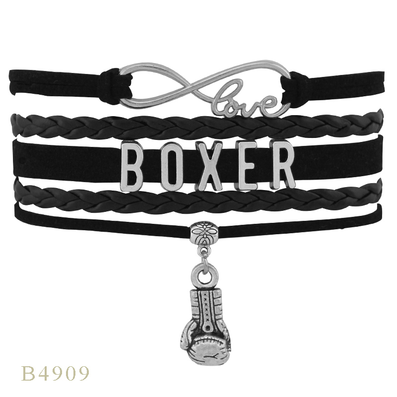Infinity Love Angel Boxing Boxer Where there is a will there is a way Winner Christmas Gift Bracelets for Women