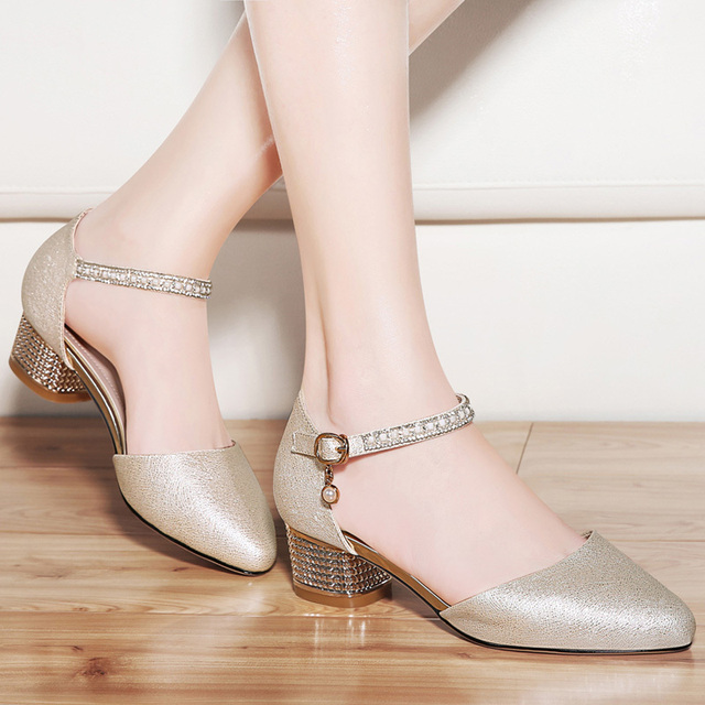 078df98064c Nice New Fashion Pointed Toe Rhinestones Low Top High Heel WoMen Shoes  Square Heel Metal Buckle Ankle Strap Ladies Pumps