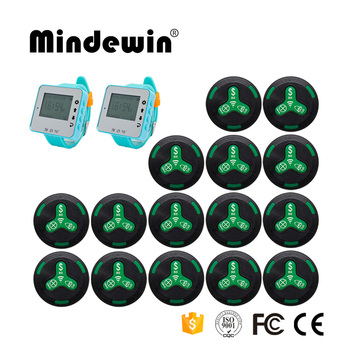 Mindewin New Type 15pcs Call Button + 2pcs LED Screen Watch Receiver Pager Cafe Shop Waiter Calling System