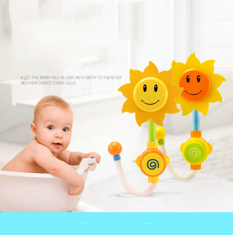 U miss 2 PCS Baby Funny Water Game Bath Toy Sunflower Shower Faucet Baby Bath Spout Play Swimming Bathroom Toys Summer Bathing