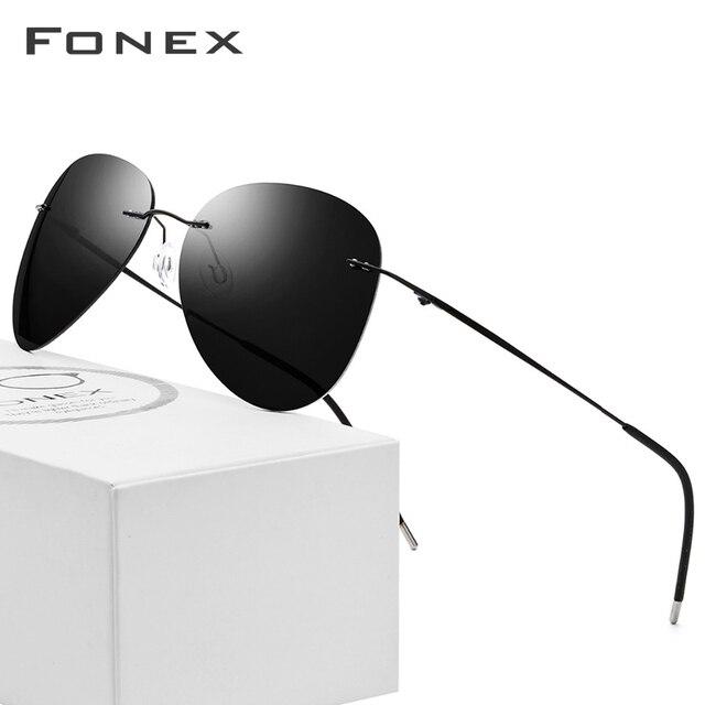 6f57ed4e1 Baixo custo Sem aro De Titânio Óculos Sol Dos Homens Designer de ...