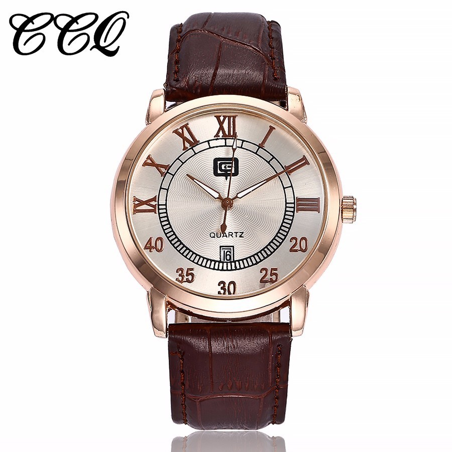 Top Luxury Brand CCQ Watches Men Fashion Casual Quartz Hour Date Clock Leather Strap Man Business Wristwatches Relogio Masculino 2017 new top fashion time limited relogio masculino mans watches sale sport watch blacl waterproof case quartz man wristwatches