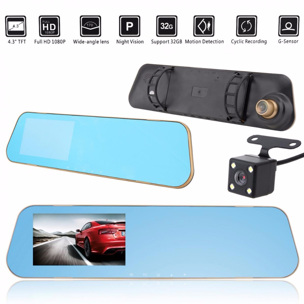 Full HD 1080 p Voiture DVR Caméra Auto 4.3 pouce Double Lentille Rétroviseur Numérique Vidéo Enregistreur Dash Cam Registratory caméscope