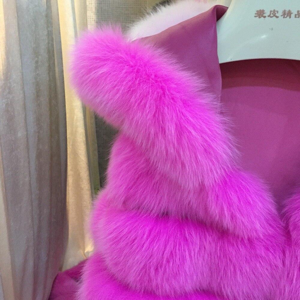 Hiver Long Nouvelle Mode Véritable De Gilet Sqxr Veste Renard Manteau Coloré Fuchsia Fourrure Femmes EH29IWD